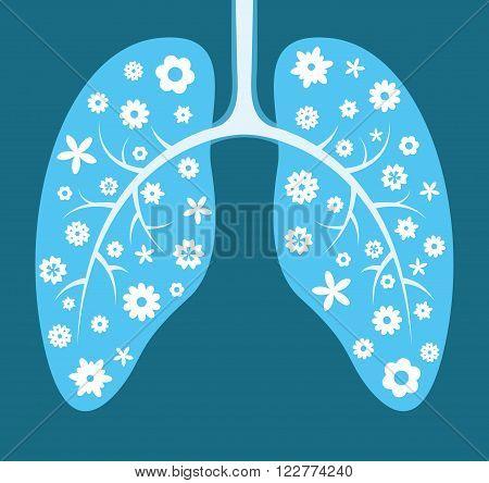 Healthy lungs. Cartoon vector illustration. Creative card
