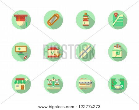 Medical pharmaceutical containers, medical equipment, pharmacy navigation. Healthcare concept. Set of flat color round vector icons. Element for web design, business, mobile app.