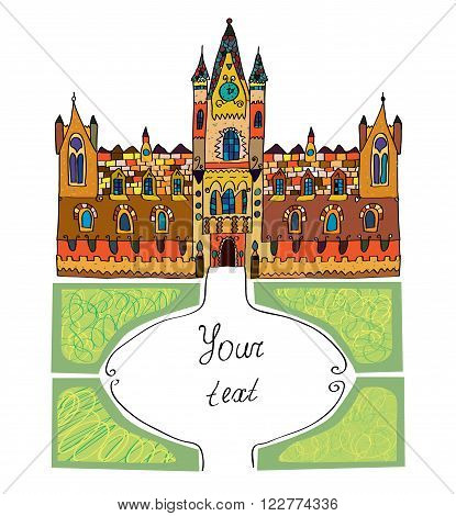 Castle background - sketchy hand drawn vector illustration