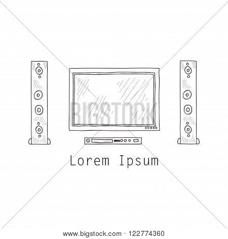 Composition with cute hand drawn TV screen 