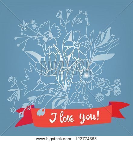 Love you floral card with lettering - retro style vector illustration
