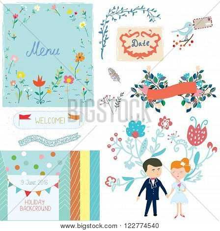 Wedding design elements with cute design - vector illlustration