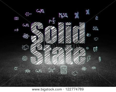 Science concept: Solid State in grunge dark room