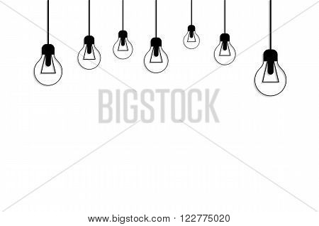 Idea concept background. Glowing light bulb as inspiration concept. Light sign ideas. Vector light bulb icon. Creative idea bulb shape. New idea on white with place for text