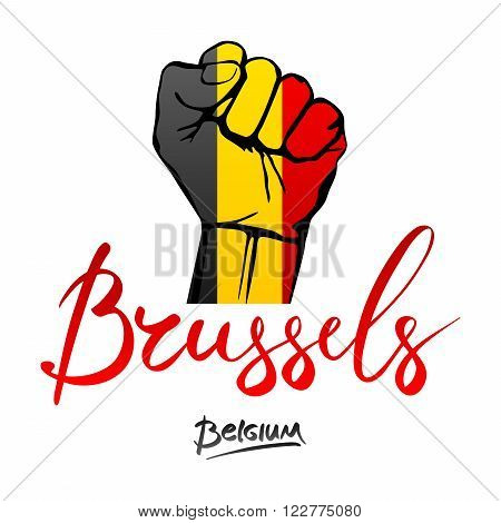 Fist Of Belgium Flag Painted, Multi Purpose Concept - Isolated On White Background. Lettering Hand-w