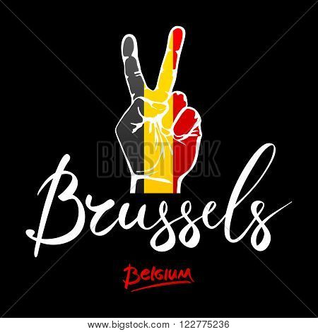 Hand Making The V Sign, Belgium Flag Painted As Symbol Of Victory, Win, Success - Isolated On White