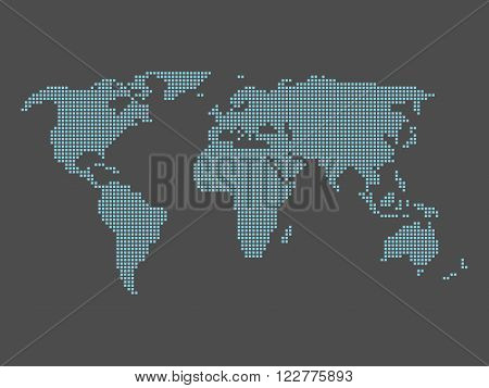 World map tiled by small blue squares on dark grey background.