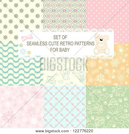 Set of retro different vector seamless patterns (tiling) of blue, orange, ivory, pink and green color. Endless texture can be used for pattern fills, web page background, baby and scrapbooking design