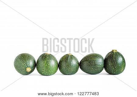 Five eight ball squashes isolated on white.