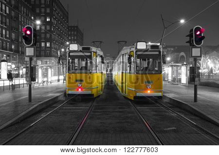 Old Tram in the city center of Budapest, Old Tram At Train Stations in Budapest, Hungary. Black And White