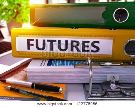 Futures - Yellow Office Folder on Background of Working Table with Stationery and Laptop. Futures Business Concept on Blurred Background. Futures Toned Image. 3D.