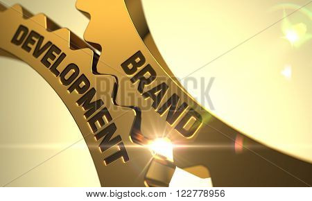 Brand Development on Golden Metallic Gears. Brand Development on Mechanism of Golden Metallic Cog Gears with Glow Effect. Brand Development - Technical Design. 3D Render.