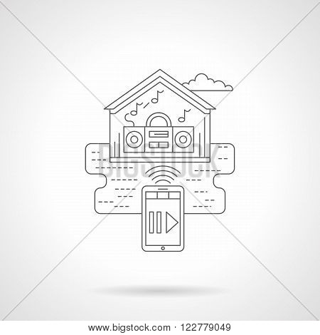 House with music magnetophone with phone remote control. Smart house concept. Media technology. Single detailed flat line style vector icon. Web design elements for business, site, mobile app.