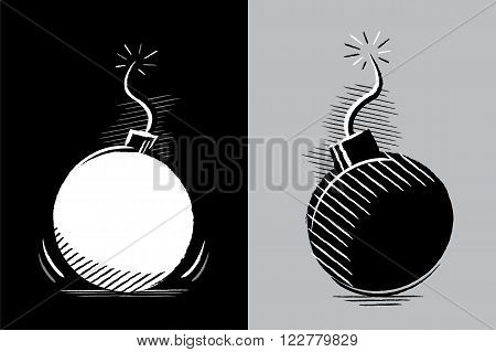 Simple drawing of two bombs in chiaroscuro without color