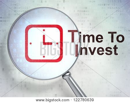 Time concept: Watch and Time To Invest with optical glass