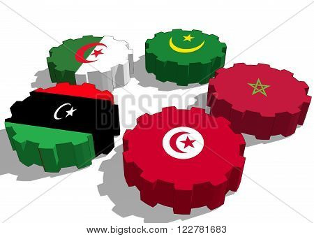 Arab Maghreb Union - association of five national economies members flags on gear. A trade agreement unity among Arab countries of the Maghreb in North Africa.