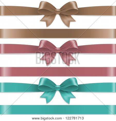 Pastel Color Bows Set With Gradient Mesh, Vector Illustration