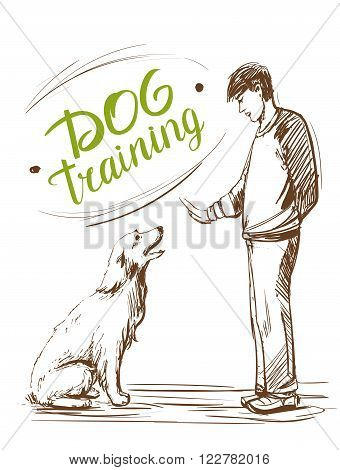 Dog training. Man teaches the dog to sit. Hand drawn vector illustration.