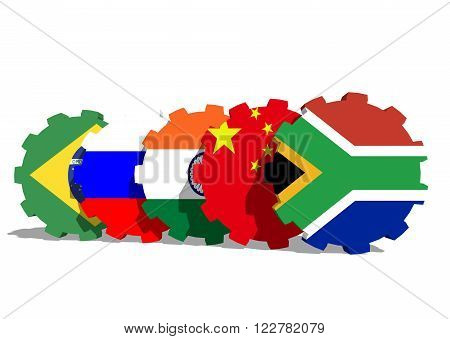 Association of five major emerging national economies members flags on gears. BRICS union