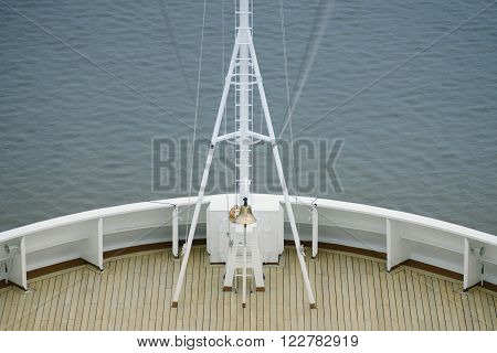 View of a ship bow and ship bell