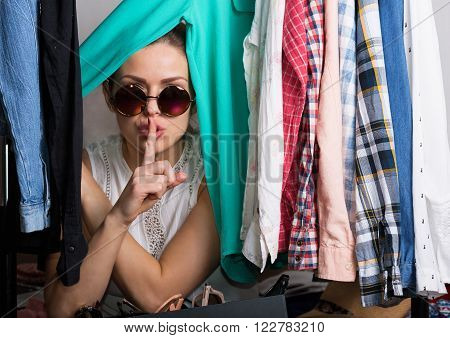 Shopaholic Woman And Her Wardrobe