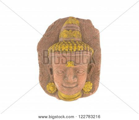 Old head of stone buddha isolated on white background clipping path