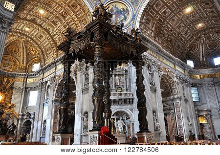 The Baldachin Altar Made By Bernini In The Basilica San Pietro, Vatican