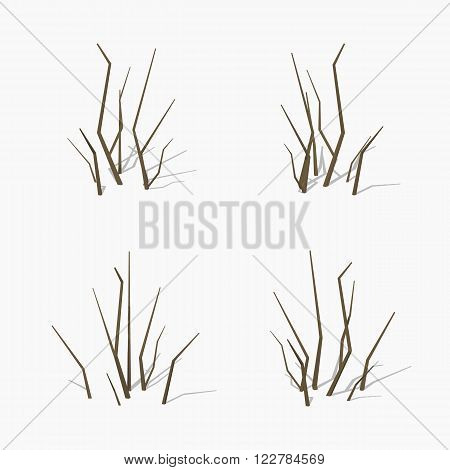 Dried branches. 3D lowpoly isometric vector illustration. The set of objects isolated against the white background and shown from different sides