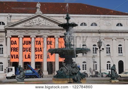 LISBON, PORTUGAL - FEBRUARY 15: Facade of the Dona Maria Theater on Rossio Square in Lisbon with the Mayor of the district panel
