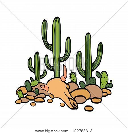 cactus, cow scull and stones at white background, hand drawn vector illustration