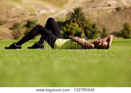 Fitness Woman Relaxing Outdoors