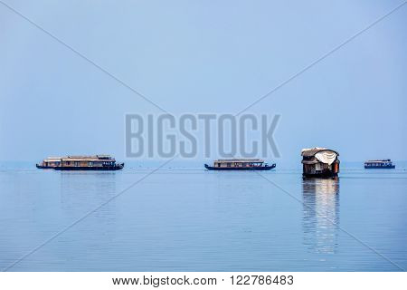Tourist houseboats in Vembanadu Lake, Kerala, India