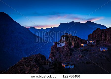 Dhankar gompa tibetan monastery in Himalayas in twilight. Spiti valley, Himachal Pradesh, India