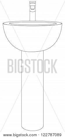 Vector illustration of simple washbasin from bathroom