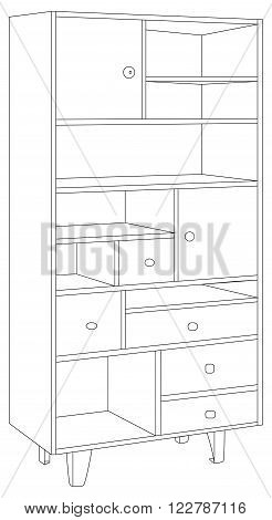 Vector illustration of wooden and vintage bookcase