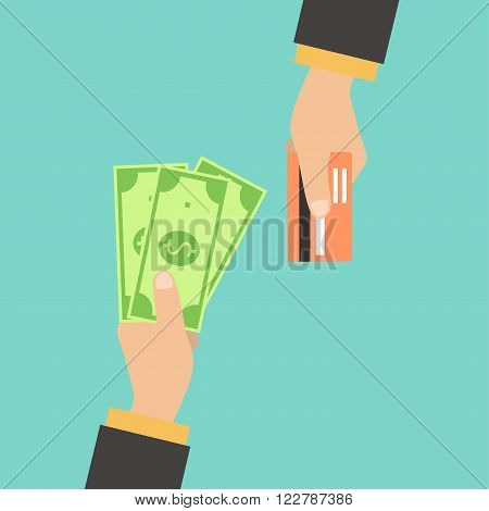 Hand with credit card and hand with cash. Payment methods cash-out smart investment business cash withdrawal business online payment concepts. Creative vector illustration