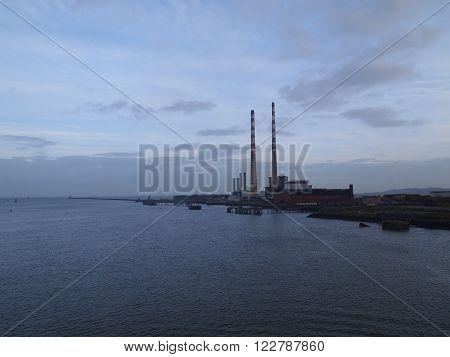 Smoke Stacks against a Blue Evening Sky, Dublin Harbor
