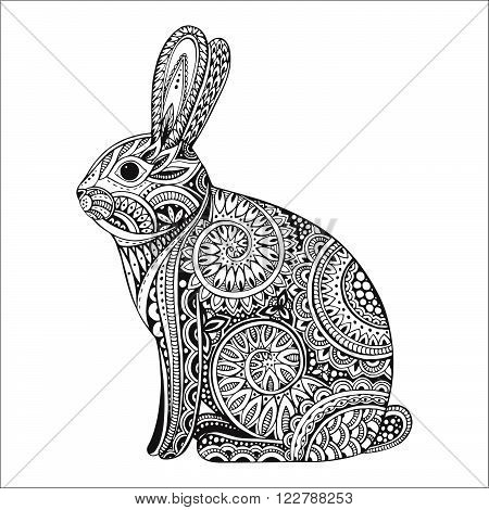 Hand drawn graphic orante rabbit with ethnic floral doodle pattern.Vector illustration for coloring book tattoo print on t-shirt bag. Isolated on a white background.