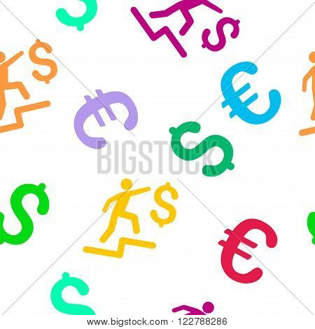 Business Steps vector repeatable pattern with dollar and euro currency symbols. Style is flat colored icons on a white background.