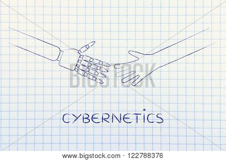 cybernetics: human and robot hand about to touch