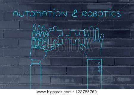 Human And Robot Hands Solving A Puzzle, Automation & Robotics