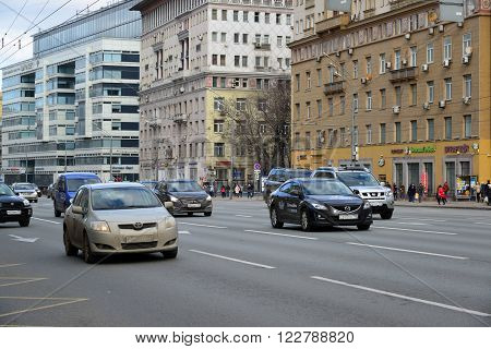 Moscow, Russia - March 14, 2016. Traffic on Garden Ring. Sadovoe koltso is circular main street in central Moscow.