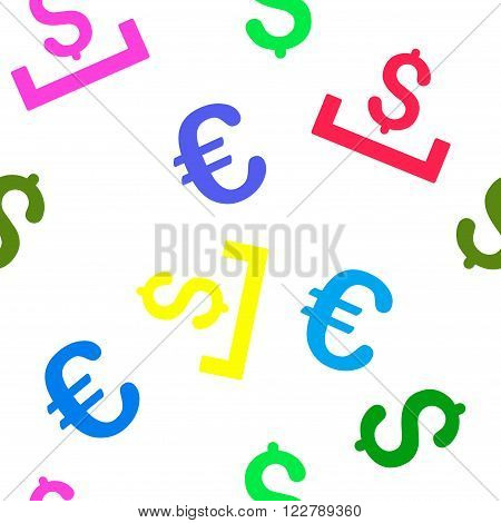 Deposit Placement vector repeatable pattern with dollar and euro currency symbols. Style is flat colored icons on a white background.