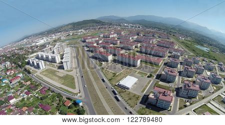 SOCHI, RUSSIA - AUG 1, 2014: City-hotel Velvet seasons with red roofs, aerial view