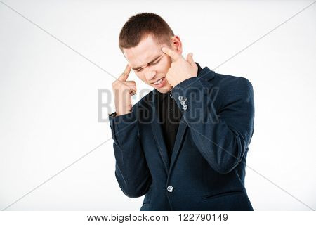 Businessman thinking about something isolated on a white background