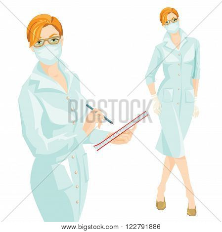 vector illustration of medic woman in medical gown and mask wrote in the document. A Redhead woman in medical gown, mask and glove isolated on white background.
