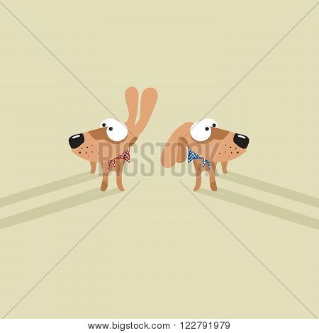 Illustration of two funny looking big eyed dogs