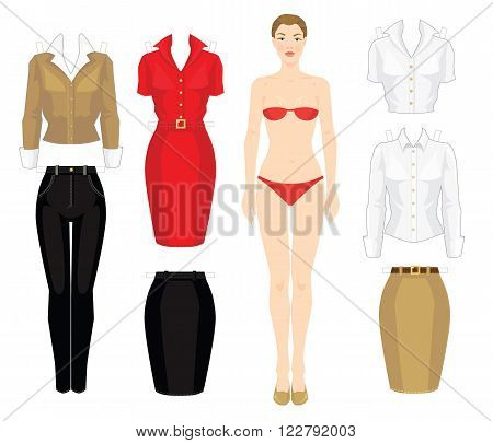 Paper doll with clothes. Body template. Set of template paper clothes. Clothes for office, clothes for holiday.