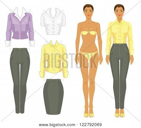 Paper doll with clothes. Body template. Set of template paper clothes. Afro girl in grey pants, yellow silk blouse and shoes