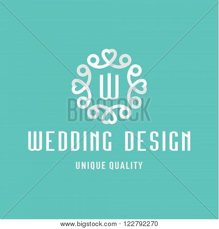 Letter W, flat Design, Wedding sign in the form of an Ornament with Hearts art
